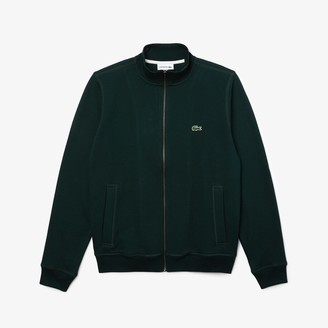 Lacoste Men's Zippered Stand-Up Collar Pique Fleece Jacket