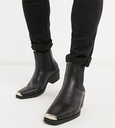 Asos Design DESIGN Wide Fit cuban heel western chelsea boots in black faux leather with metal hardware