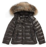 Moncler Girl's Armoise Hooded Jacket With Genuine Fox Fur Trim