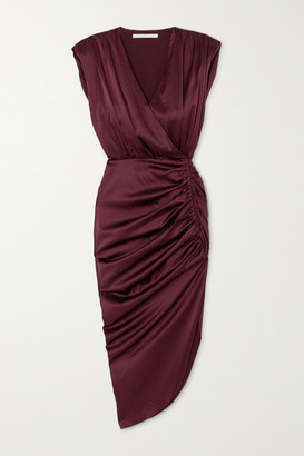 Veronica Beard Casela Wrap-effect Ruched Stretch-silk Midi Dress - Burgundy