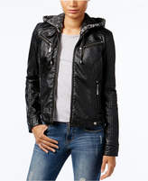 Joujou Jou Jou Juniors' Faux-Leather Knit-Hood Jacket
