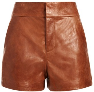 Alice + Olivia Cady High-Rise Leather Shorts