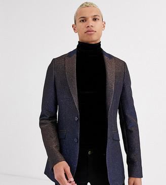 ASOS DESIGN Tall super skinny blazer in glitter black velvet