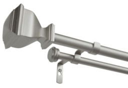 """Exclusive Home Napoleon Double Curtain Rod and Finial Set, 66""""-120"""""""