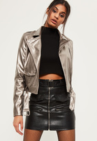 Missguided Tall Exclusive Silver Metallic Faux Leather Biker Jacket