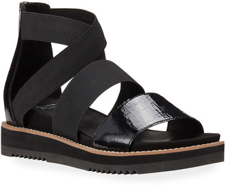 Eileen Fisher Klay Patent Stretch Wedge Sandals