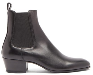 Saint Laurent Stacked-heel Leather Chelsea Boots - Black