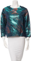 Maje Long Sleeve Metallic-Accented Top