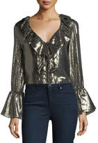 Alice + Olivia Elliott Long-Sleeve Deep-V Metallic Blouse w/ Ruffled Trim