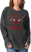 G Iii Women's G-III Sports by Carl Banks Black Chicago Bulls Slouchy Comfy Cord Crewneck Pullover Sweatshirt