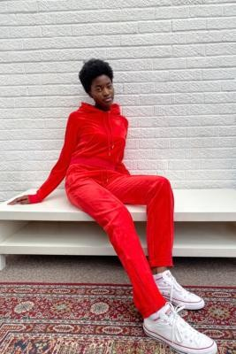 Juicy Couture Goji Berry Velour Track Pants - Red S at Urban Outfitters