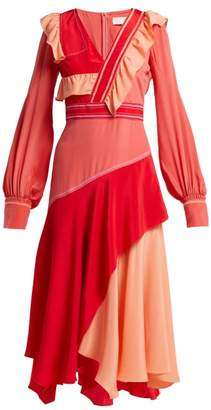 Peter Pilotto Contrast-panel Ruffled Silk Dress - Womens - Pink