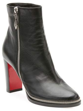 timeless design bf77e ba2b7 Telezip Crinkled Leather Red Sole Ankle Boots