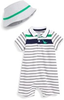 Little Me Infant Boy's Cutie Dino Romper & Hat Set