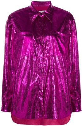 MSGM Metallic Snake-Effect Skirt