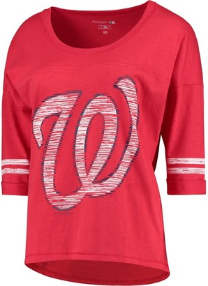 New Era Women's 5th & Ocean by Heathered Red Washington Nationals MLB Slub 3/4 Sleeve Scoop With Hi Lo Hem T-Shirt