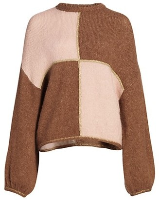 By Ti Mo Golden Knit Colorblock Pullover Sweater