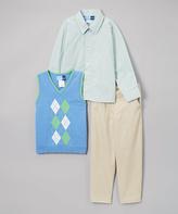 Good Lad Blue Argyle Sweater Vest Button-Up & Pant Set - Boys