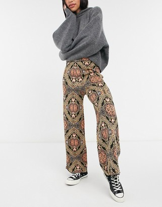 Free People Sun In The West knitted wide leg trousers in black multi