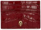 Alexander McQueen Red Croc Skull Stud Card Holder