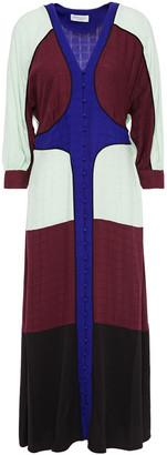 Hofmann Copenhagen Marilou Crepe-paneled Color-block Jacquard Midi Dress