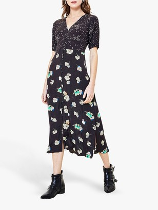 Oasis Floral Patch Button Midi Dress, Black/Multi