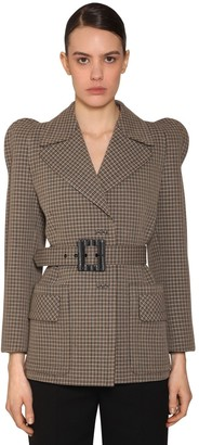 Givenchy Check Round Shoulder Wool Crepe Blazer