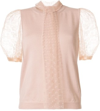 RED Valentino Point d'Esprit sleeves knitted top