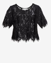 Alexis Lace Crop Top: Black