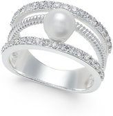 Charter Club Silver-Tone Crystal Imitation Pearl Ring, Only at Macy's