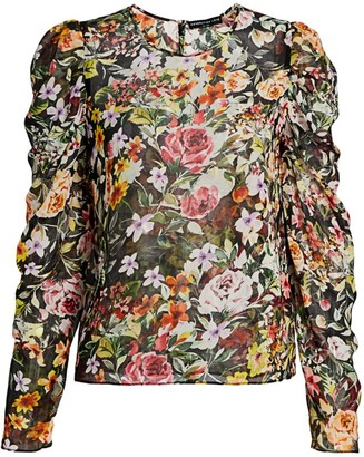 Generation Love Jada Floral Ruched Silk Top