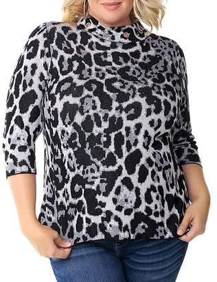 Belldini Plus Leopard-Jacquard Mock-Neck Sweater