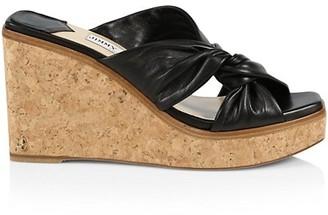 Jimmy Choo Narisa Leather Platform Wedge Mules