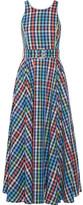 Gül Hürgel - Belted Checked Cotton And Linen-blend Midi Dress - Blue