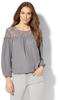 New York & Co. Metallic Lace Peasant Blouse