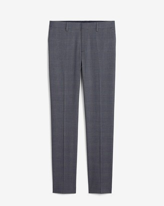 Express Slim Blue Plaid Performance Blend Suit Pant