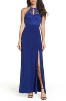 Sequin Hearts Women's Side Slit Lace & Jersey Gown