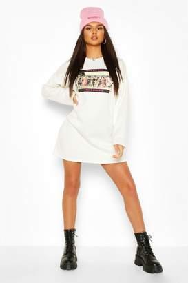 boohoo Photo Printed Long Sleeve Sweat Dress