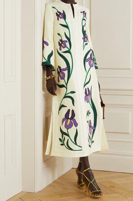 Tory Burch - Embroidered Appliqued Linen Kaftan - Cream