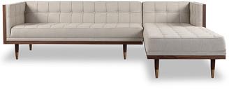 808 Home Woodrow Mid-Century Modern Right Sectional Box Sofa