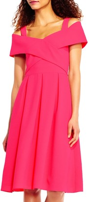 Adrianna Papell Off Shoulder Fit & Flare Dress