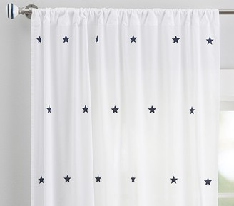 Pottery Barn Kids Embroidered Stars Sheer Curtain