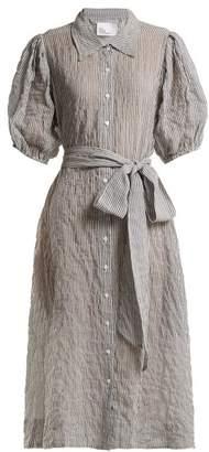 Lisa Marie Fernandez Puff-sleeved Striped Seersucker Shirtdress - Womens - White Stripe