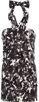 Norma Kamali Printed Stretch-Jersey Halterneck Mini Dress