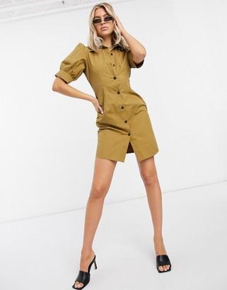 UNIQUE21 puff sleeve shirt dress in khaki