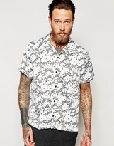 Asos Floral Shirt In Silk Feel With Revere Collar In Oversized Fit
