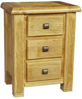 Danube 3 Drawer Bedside Table in Distressed Natural Dusk