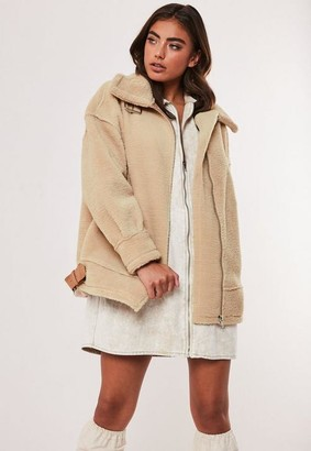 Missguided Stone Ultimate Oversized Faux Fur Aviator Jacket