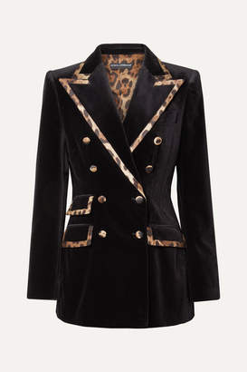 Dolce & Gabbana Leopard-print Satin-trimmed Cotton And Silk-blend Velvet Blazer - Black