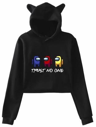 Silver Basic 2020 Popular Game Among Us Cat Ear Hoodie for Women Casual Streetwear Sweatshirt Among Us Merch Christmas Jumper S